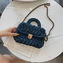 Модная женская сумка через плечо плетеная из ткани, фото 3