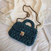 Модная женская сумка через плечо плетеная из ткани, фото 2