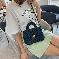 Модная женская сумка через плечо плетеная из ткани, фото 5