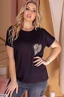 Футболка женская летняя двунить/камни размер 48-54 универсальный Турция,цвет черный