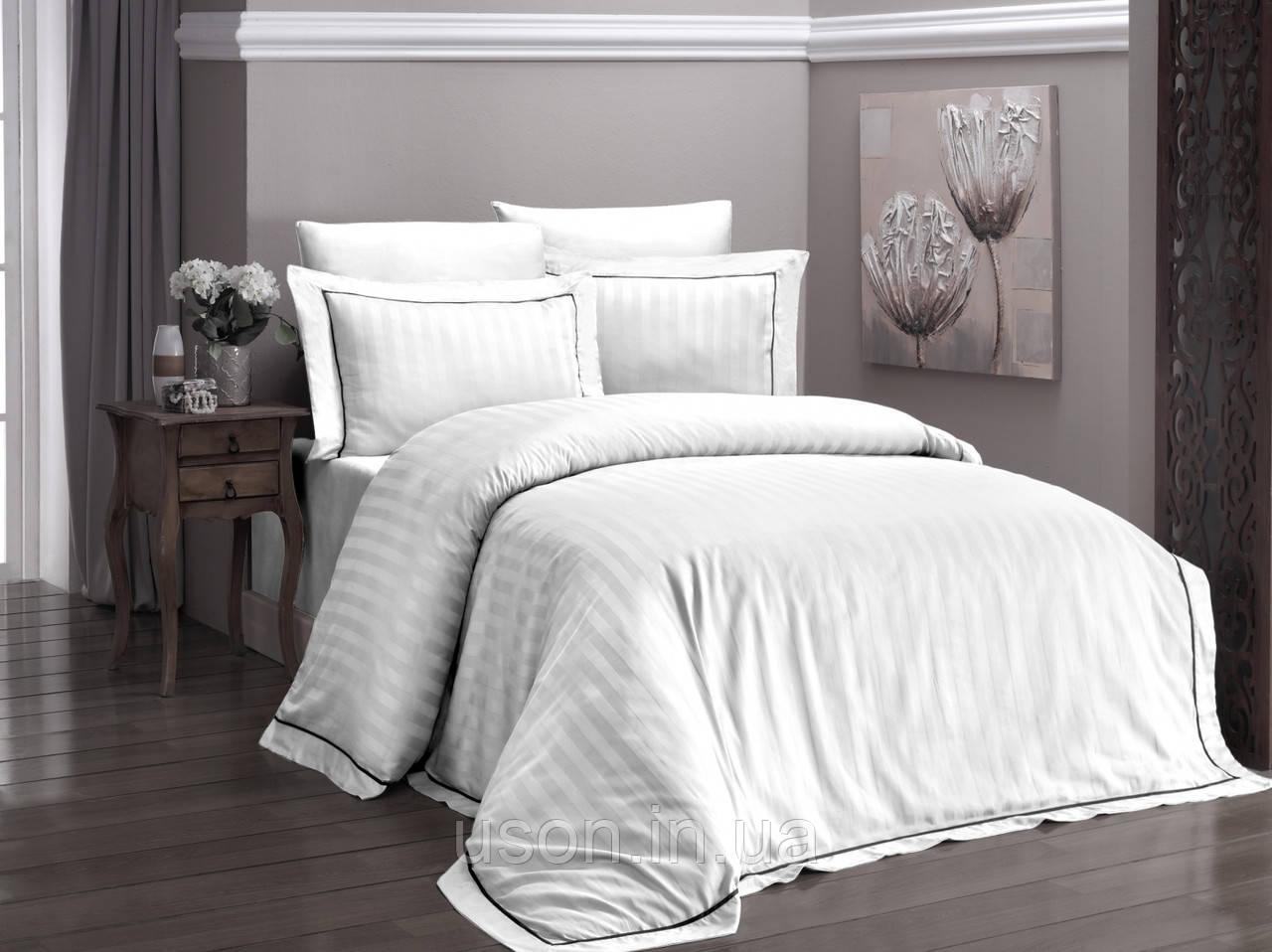 Комплект постельного белья сатин delux First Choice евро размер Novel Line Beyaz
