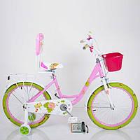Детский двухколесный велосипед для девочки с корзинкой ROSES розовый 20 дюймов