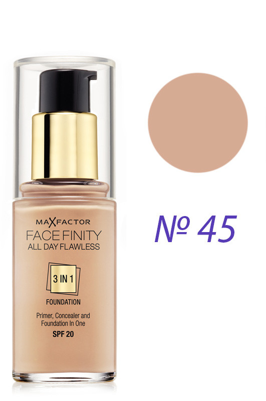 Max Factor Facefinity All Day Flawless 3-in-1 Foundation SPF20 Тональная основа 45 warm almonds