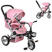 Велосипед-коляска детский трехколесный с поворотным сиденьем Turbo Trike M AL3645-10 розовый, фото 1