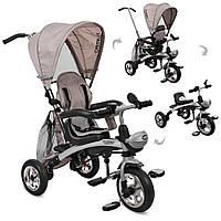 Велосипед-коляска детский трехколесный с поворотным сиденьем Turbo Trike  M 3212A-7 бежевый, фото 1