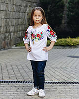Детская вышиванка Лада,3\4 рукав, р104,110,116,122,128,134,140,146,152, белая, дитяча вишиванка