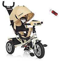 Детский велосипед Turbotrike M 3115-7HA трехколесный, колеса надувные, музыка, ПУ, свет, бежевый, фото 1