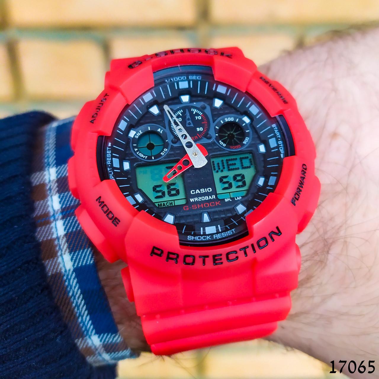 Часы мужские в стиле G-Shock. Мужские наручные часы красные. С черным циферблатом. Годинник чоловічий