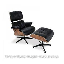 Кресло Релакс с оттоманкой, натуральная кожа, гнутая фанера, черный
