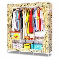 🔝 Шкаф для одежды, из ткани, Storage Wardrobe YQF130-14, цвет чехла - бежевый Микки Маус | 🎁%🚚, фото 1