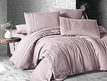Комплект постельного белья Страйп Сатин евро Stripe Style  Pudra