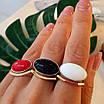 Серебряное кольцо с золотом и кораллом, авантюрином и кахолонгом, фото 3