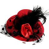 Жіночий капелюшок шпилька з вуаллю червона, фото 2