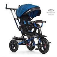 Детский трехколесный велосипед-коляска с поворотным сиденьем TurboTrike M 4058-10 синий