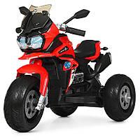 Детский мотоцикл Bambi с кожаным сиденьем M 4117EL-3 красный, фото 1