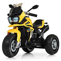 Детский мотоцикл Bambi с кожаным сиденьем M 4117EL-6 желтый, фото 1