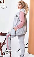 Спортивный костюм тройка женский весна-осень турецкая двунить 48-54 р.,цвет фрез/серый