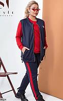 Спортивный костюм тройка женский весна-осень турецкая двунить 48-54 р.,цвет темно-синий/красный