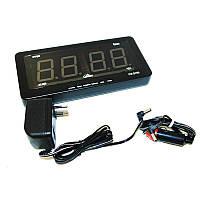 🔝 Автомобильные электронные настенно-настольные светодиодные часы Caixing CX 2159 - чёрный корпус | 🎁%🚚, фото 1