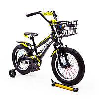 """Детский двухколесный велосипед  (от 5 лет) на 16 дюймов """"HAMMER"""" S700 желтый"""