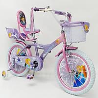 Детский двухколесный велосипед для девочки с корзинкой PRINCESS 19PS01-18 фиолетовый