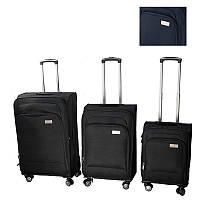🔝 Набор чемоданов на колесах, LUGGAGE HQ, комплект, 3 шт., большой, багажный, маленький, цвет - синий | 🎁%🚚, фото 1
