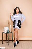 Свободное платье-туника с глубокими карманами и накатом на груди Размер: 50-52, 54-56 арт 526vl