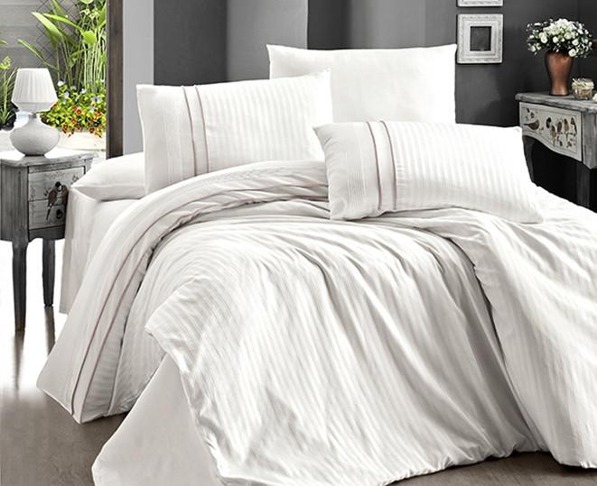 Комплект постільної білизни Страйп Сатин євро Stripe Style Krem