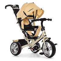 Велосипед-коляска детский трехколесный Ева колеса Turbo Trike M 3113-9 золотой, фото 1