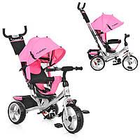 Велосипед-коляска детский трехколесный Ева колеса Turbo Trike M 3113-10 нежно-розовый