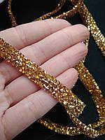 Стразовая термо тесьма из конусных страз Gold, шир.1 см. Цена за 0,5 м