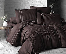 Комплект постельного белья Страйп Сатин евро Stripe Style  Cikolata