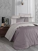 Комплект постельного белья сатин delux First Choice евро размер Square Duet  leylak a.bej