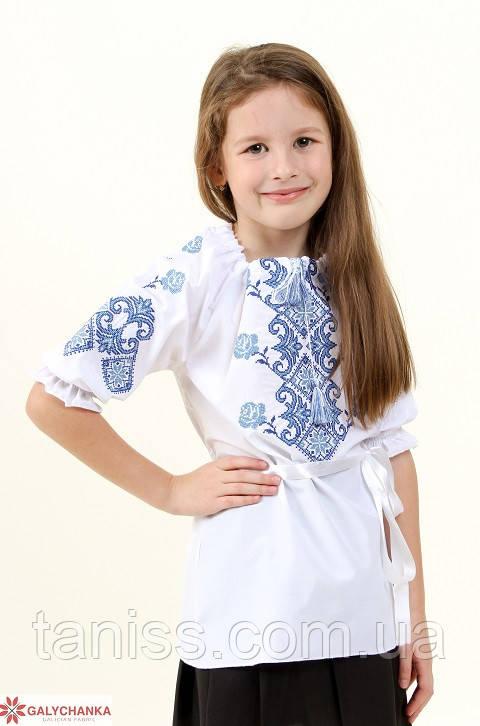 Детская вышиванка Маричка,3\4 рукав, р 122,128,134,140,146,152, белая с синим, дитяча вишиванка