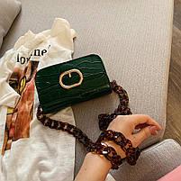 Модная женская сумка через плечо с акриловой цепочкой - Зеленая, фото 2