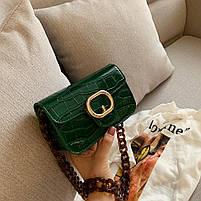 Модная женская сумка через плечо с акриловой цепочкой - Зеленая, фото 3
