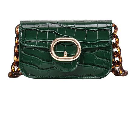 Модная женская сумка через плечо с акриловой цепочкой - Зеленая