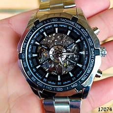 Часы мужские Winner. Мужские наручные часы серебристые. С черным циферблатом. Годинник чоловічий, фото 3