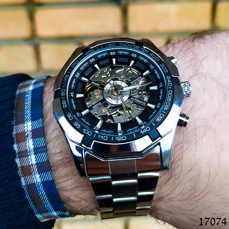 Часы мужские Winner. Мужские наручные часы серебристые. С черным циферблатом. Годинник чоловічий, фото 2
