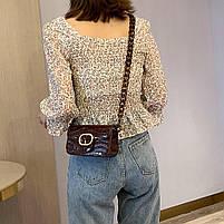 Модная женская сумка через плечо с акриловой цепочкой - Коричневая, фото 2