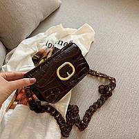 Модная женская сумка через плечо с акриловой цепочкой - Коричневая, фото 3