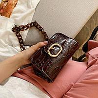 Модная женская сумка через плечо с акриловой цепочкой - Коричневая, фото 6