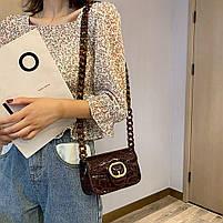 Модная женская сумка через плечо с акриловой цепочкой - Коричневая, фото 5