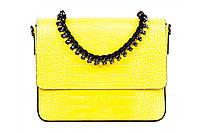Итальянская женская сумка из натуральной кожи. Цвет: Желтый, фото 1