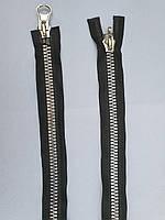 Молния металлическая №10 серебро два бегунка на черной основе 80