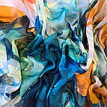 Палантин шерстяной 10718-12, павлопосадский шарф-палантин шерстяной (разреженная шерсть) с осыпкой, фото 2