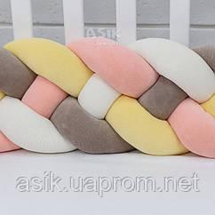 Бортик-косичка в 4 пасма,колір жовтий, персиковий, білий і коричневий.