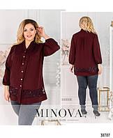 Блуза жіноча з софту та кружева, фото 1