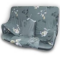 🔝 Универсальный еврочехол на одноместный диван кресло (Серый в цветок) 90-140 см   накидка чехол   🎁%🚚