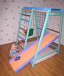 Детский спортивно игровой комплекс Малыш плюс (с деревянной горкой) для дома, фото 2
